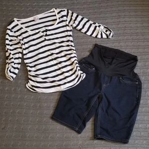 Maternity striped top and Bermuda shorts